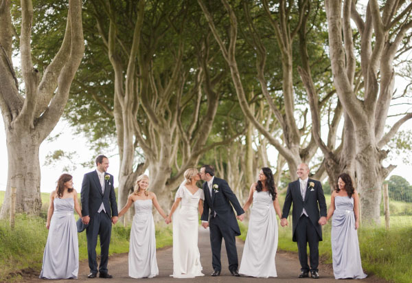 Wedding Shot at The Dark Hedges close by to Lissanoure Castle