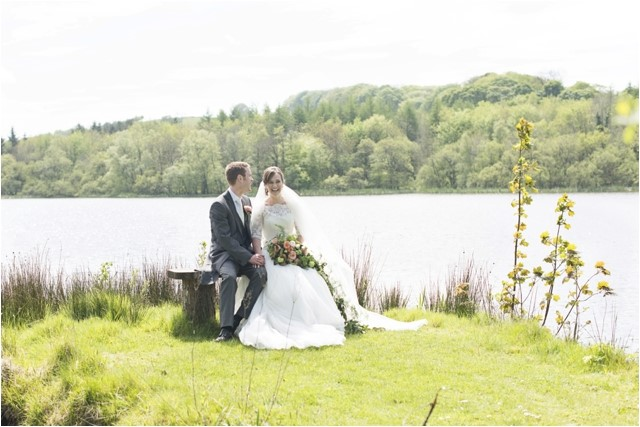 Sarah and Daf by the lakes at Lissanoure Castle